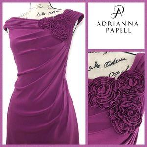 Adrianna Papell Ruched Wide Neckline Dress